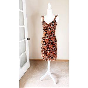 🇺🇸 Boston Proper Silk 70's Wallpaper Midi Dress